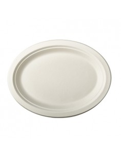 Bandejas caña azúcar ovaladas color blanco 32 x 25,5cm Pure