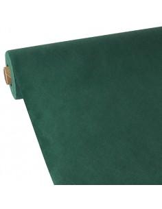 Mantel papel aspecto tela tejido sin tejer verde oscuro 40m x 0,9 m