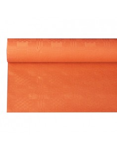 Rollo mantel papel naranja gofrado damasco 6 x 1,2 m