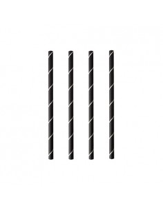 Cañitas de papel cortas Ø 7mm x 15cm negro blanco Pure