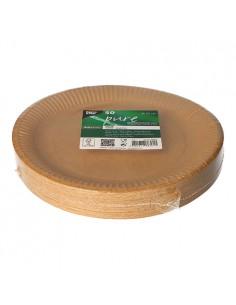 Platos redondos cartón marrón natural Ø 23 cm Pure