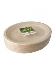 Bandejas caña azúcar natural ovaladas 32 x 25,5 cm Pure