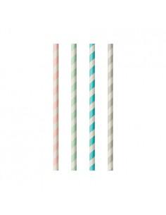 Cañitas de papel a rayas surtido pastel Ø 6mm x 20cm