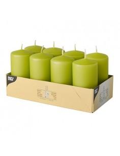 Velas de taco decorativas verde kiwi Ø 50 x 100mm