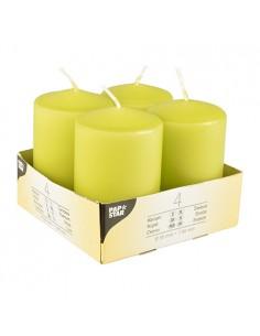Velas de taco decorativas verde kiwi Ø 50 x 80mm