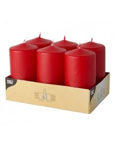Velas de taco decorativas rojas Ø 60 x 115mm