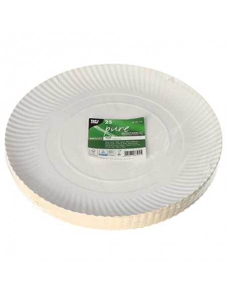 Bandejas redondas cartón blanco compostables Ø 32 cm Pure