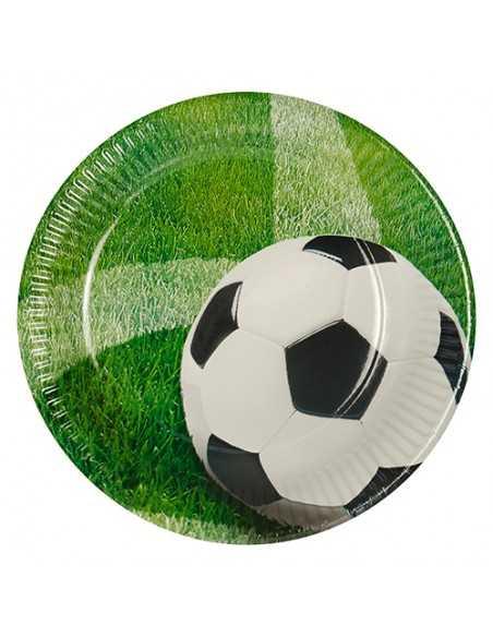 Platos cartón fiesta decorados fútbol compostables Ø 23 cm