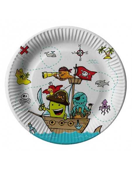 Platos cartón fiestas infantiles Piratas compostables Ø 23 cm