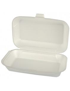 Envases comida para llevar tapa bisagra de XPS blanco 1800ml