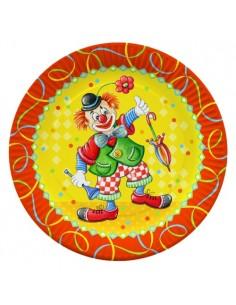 Platos cartón decorados payaso fiestas infantiles Ø 23 cm