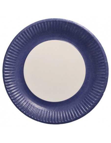 Platos cartón redondos color azul 100% compostables Ø 23 cm