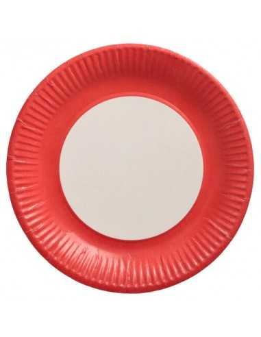 Platos cartón redondos color rojo 100% compostables Ø 23 cm