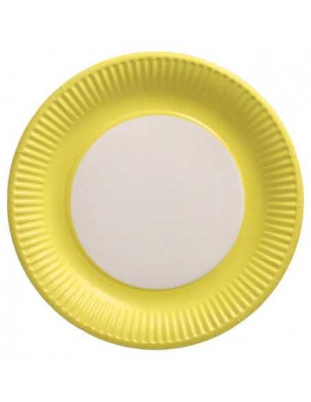 Platos cartón redondos color amarillo 100% compostables Ø 23 cm