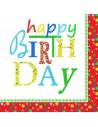 Servilletas papel fiesta cumpleaños rojo decoradas 33 x 33 cm