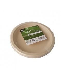 Platos de caña azúcar natural redondos Pure Ø 18cm