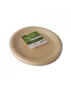 Platos de caña azúcar natural redondos Pure Ø 23cm