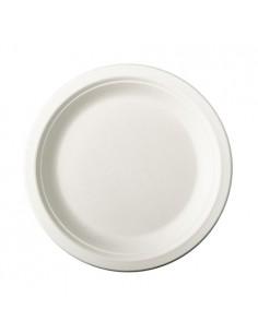 Platos de caña azúcar redondos blancos Ø18 cm Pure