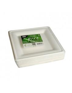 Platos cuadrados caña de azúcar Pure Blanco 20x20 cm