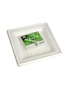 Platos caña azúcar cuadrados Pure blanco 20 x 20 cm