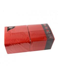 Servilletas de papel rojas hostelería 33 x 33 cm 1/8