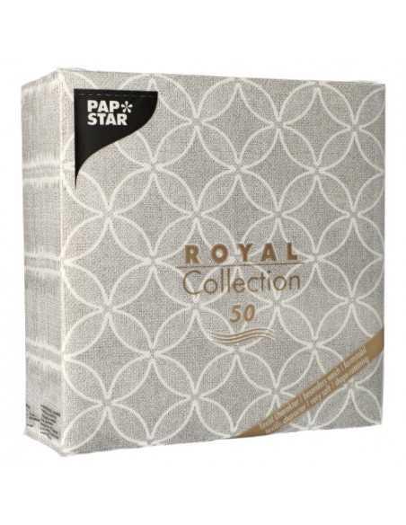 Servilletas de papel decoradas Royal Collection 40 x 40 cm gris Circle Flowers
