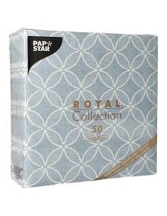 Servilletas de papel decoradas Royal Collection 40 x 40 cm azul claro Circle Flowers