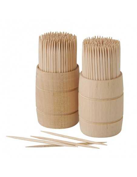 Palillos montadientes madera redondos en dispensador 6,8 cm