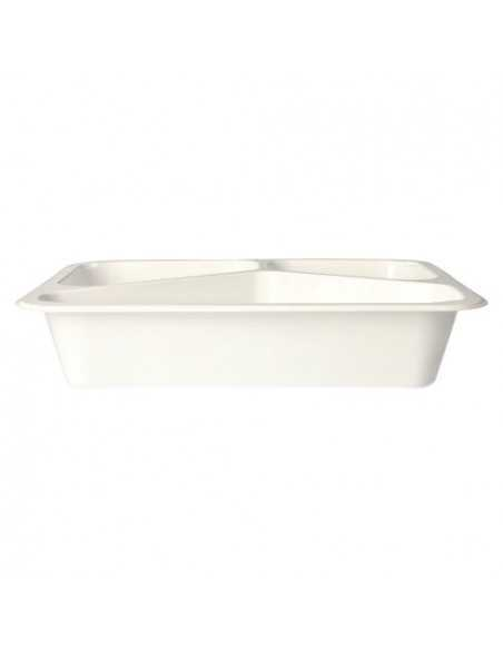 Envases microondables take away plástico blanco 3 Comp. 1095 ml