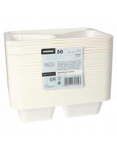 Bandejas microondables plástico blanco 3 compartimentos 1095 ml