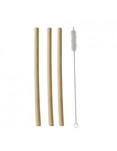 Cañitas madera bambú con cepillo de limpieza 23 cm
