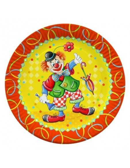 Platos cartón fiestas infantiles payaso compostables Ø 23 cm