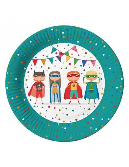 Platos cartón fiestas infantiles superheroe compostables Ø 23 cm