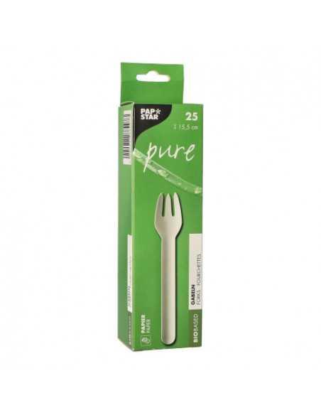 Tenedores compostables de papel blanco 15,5cm Pure