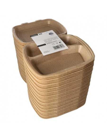 Envases tapa bisagra para menús para llevar beige 3 comp.