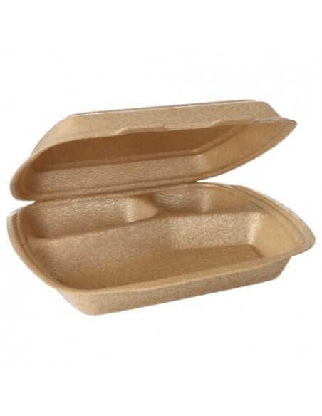 Envases con tapa bisagra para menús beige 3 Comp.