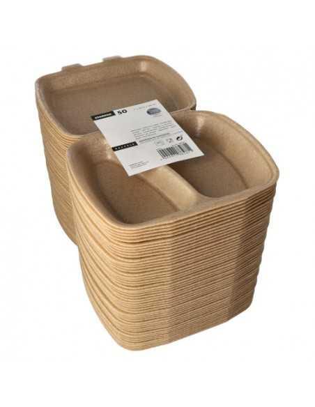 Envases tapa bisagra para menús para llevar beige 2 comp.