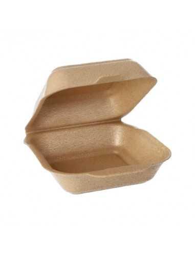 Cajas hamburguesas tapa bisagra XPP beige 15 x 15 cm