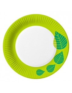 Platos cartón decorados compostables color verde Ø 23cm Graphic Leaves