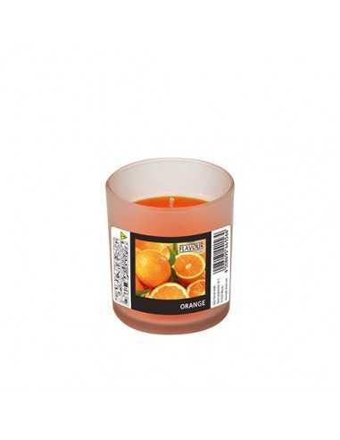 Vela aromática en vaso cristal naranjas Ø 70 x 77mm