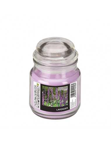 Vela en tarro cristal cera aromática lavanda Ø 63 x 85mm