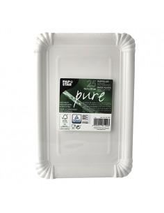 Bandejas de cartón blanco compostables 16,5 x 23cm Pure