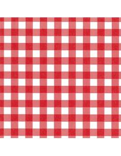 Servilletas de papel cuadros vichy rojo blanco 33 x 33cm