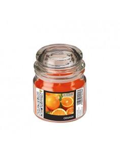 Vela en frasco cristal cera aromática naranja Ø 63 x 85mm