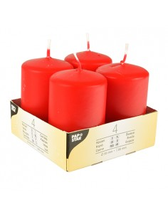 Velas de taco color rojo decorativas Ø 50 x 80mm