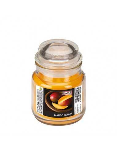 Vela en frasco cristal cera aromática mango papaya Ø 63 x 85mm