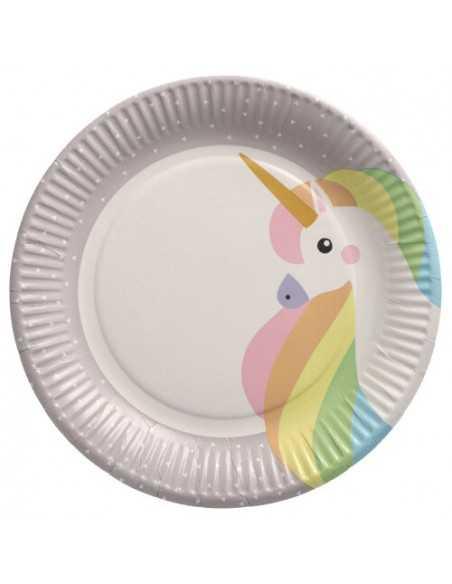 Platos cartón fiestas infantiles unicornio compostables Ø 23 cm