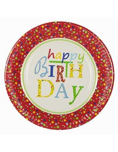 Platos cartón fiestas cumpleaños decorados y compostables Ø 23 cm