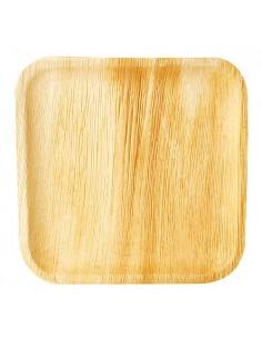 Platos cuadrados compostables hoja de palma natural 25,5 x 25,5 cm