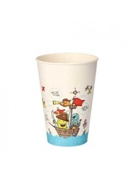 Vasos de cartón fiestas infantiles piratas compostables 200ml